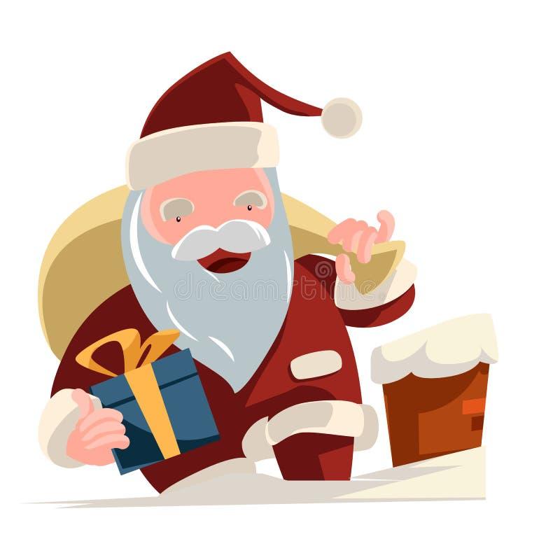 Santa que traz o personagem de banda desenhada da ilustração dos presentes ilustração do vetor