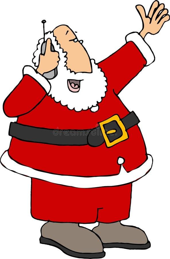 Santa que usa um telefone de pilha ilustração do vetor