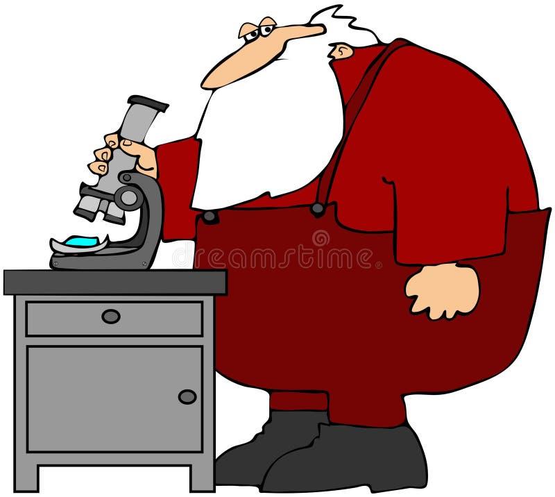 Santa que usa un microscopio ilustración del vector