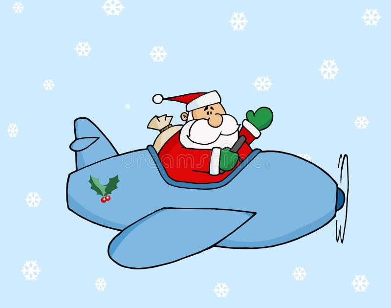 Santa que voa seu plano do Natal na neve ilustração stock