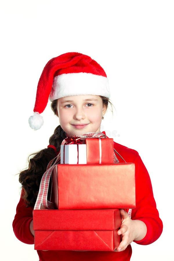 Santa-ragazza con il presente immagine stock libera da diritti