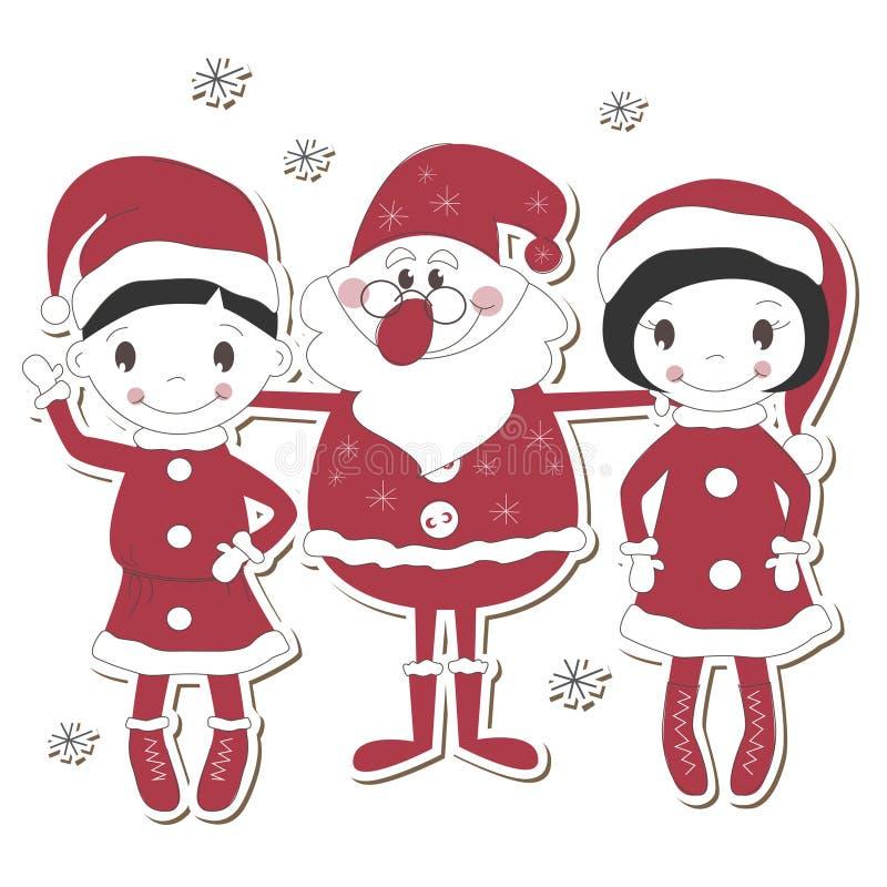 Santa, ragazzo e ragazza illustrazione vettoriale