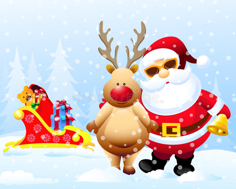 Santa & Rain Deer with Christmas Gifts stock illustration