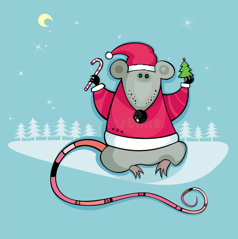 Santa rat with candy and tree