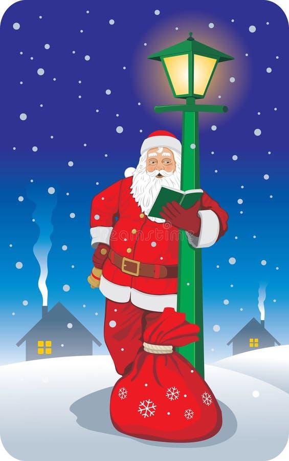 Santa reading address book. Santa with bag full of gifts reading address book vector illustration