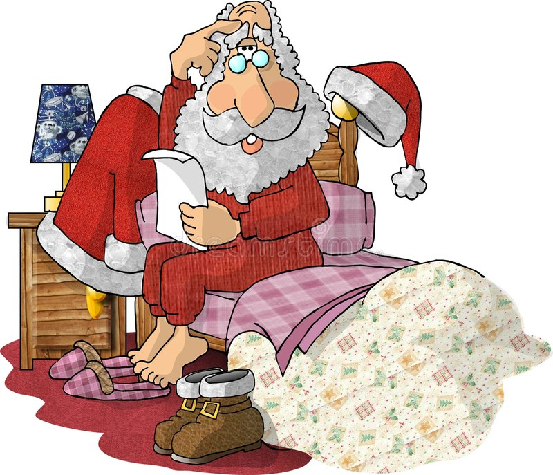 Santa Reading Gift Lists in his Pajamas stock illustration