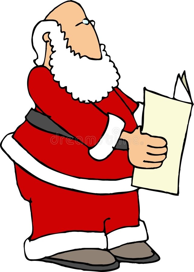 Santa Reading the Paper vector illustration
