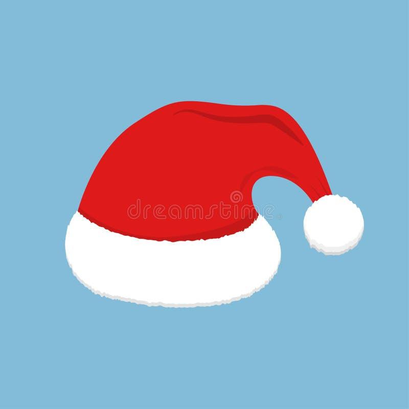 Santa Red Hat Decoración de la Navidad Casquillo plano de Papá Noel del estilo Icono del vector del día de fiesta stock de ilustración