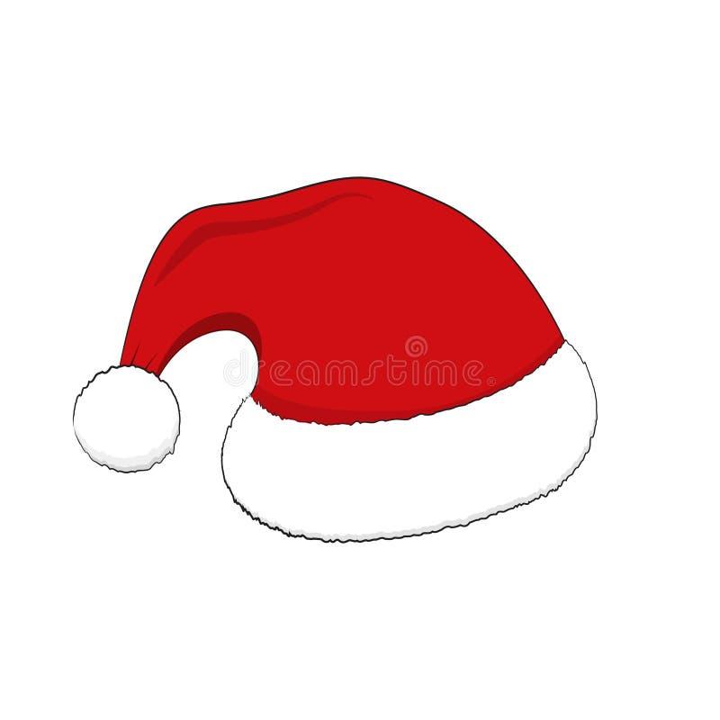 Santa Red Hat Decoración de la Navidad Casquillo plano de Papá Noel del estilo Icono del vector del día de fiesta libre illustration