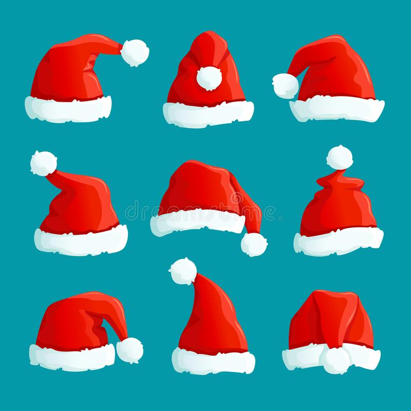 Santa red hats. Christmas funny caps. Santa clothes warm hat. Isolated vector set stock illustration