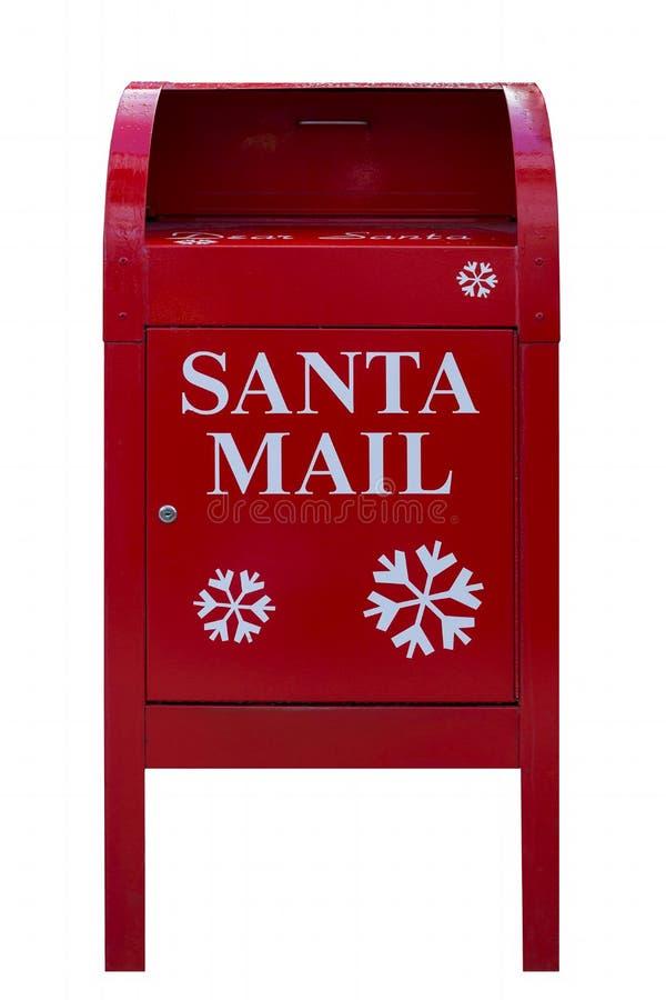 Santa Red Mail Box op witte achtergrond wordt geïsoleerd die stock foto