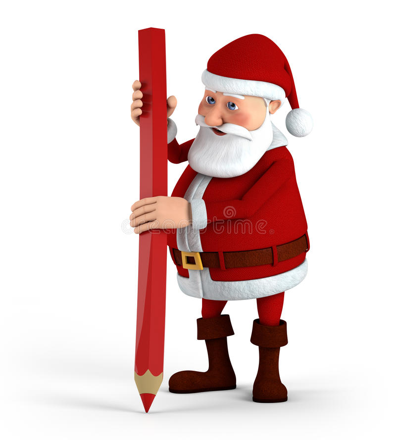 Download Santa with red pencil stock illustration. Image of xmas - 21323169