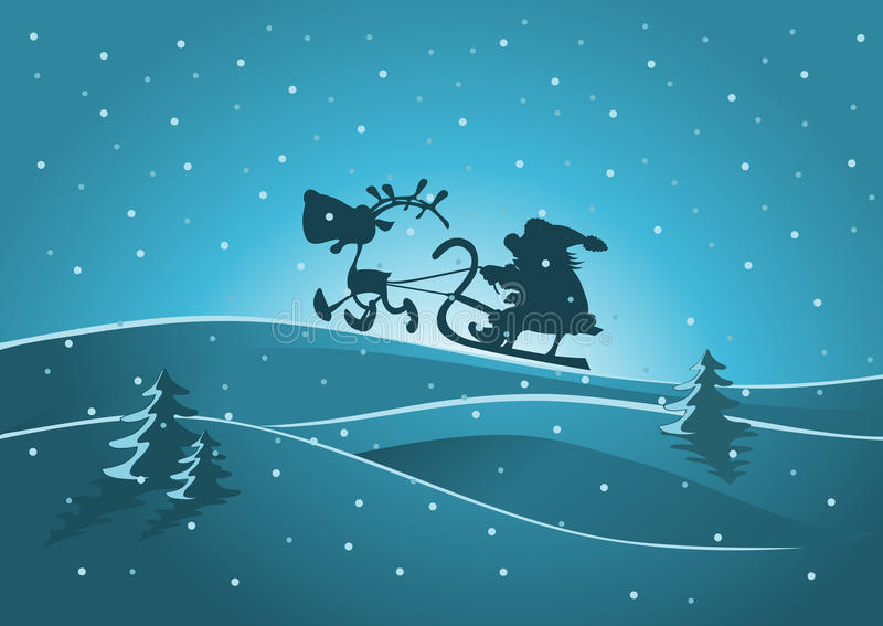 Santa and reindeer royalty free stock images