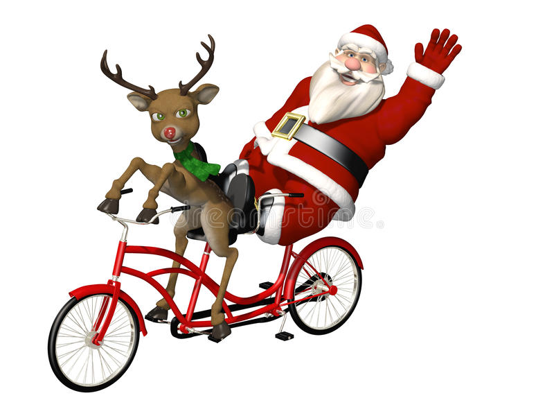 Santa and Reindeer - Bicycle Built for Two. A red nosed reindeer pedaling the bicycle while Santa relaxes and waves. Isolated on a white background stock illustration