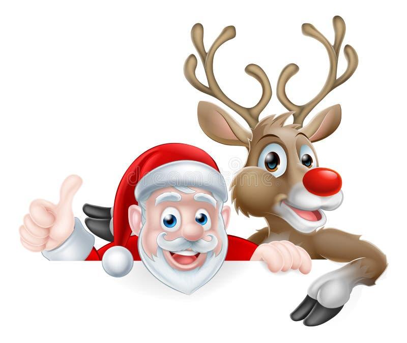 Santa and reindeer cartoon stock vector image of border