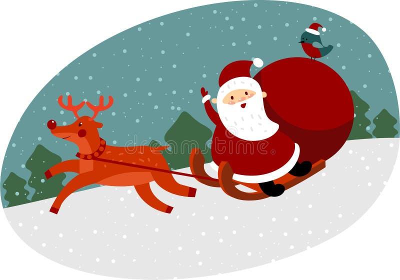 download santa with reindeer stock vector illustration of character 34856358 - Santa With Reindeer
