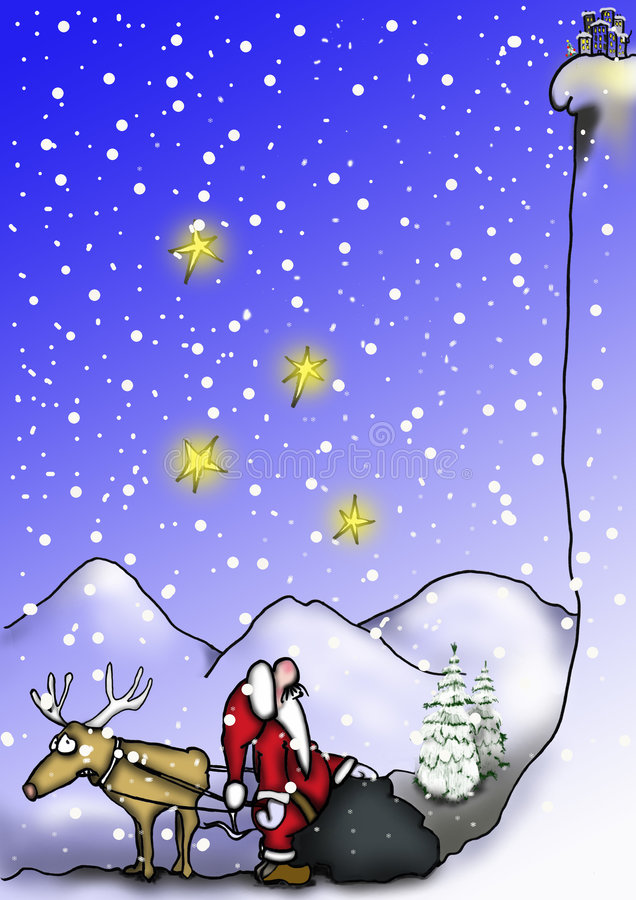 Santa and reindeer by the mountain royalty free stock photography