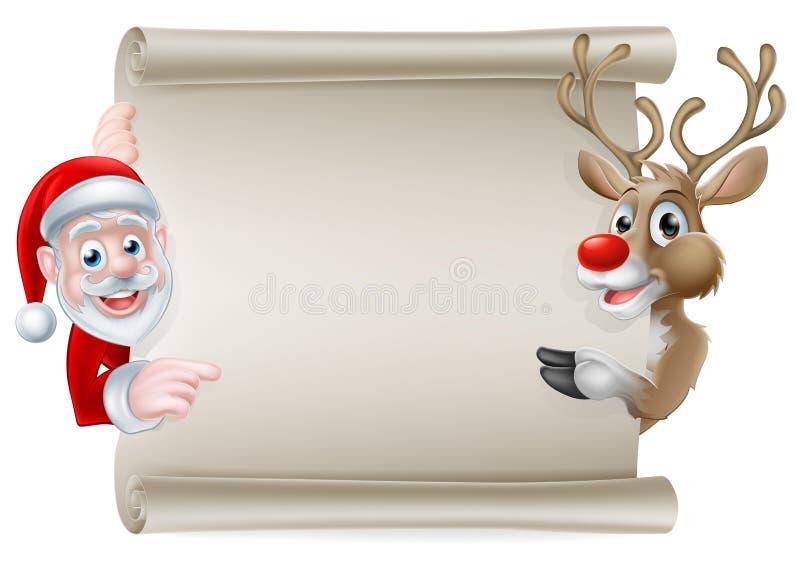 Santa Reindeer Scroll ilustração stock