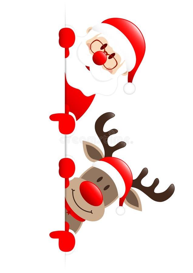 Santa And Reindeer Showing On ließ Fahne stock abbildung