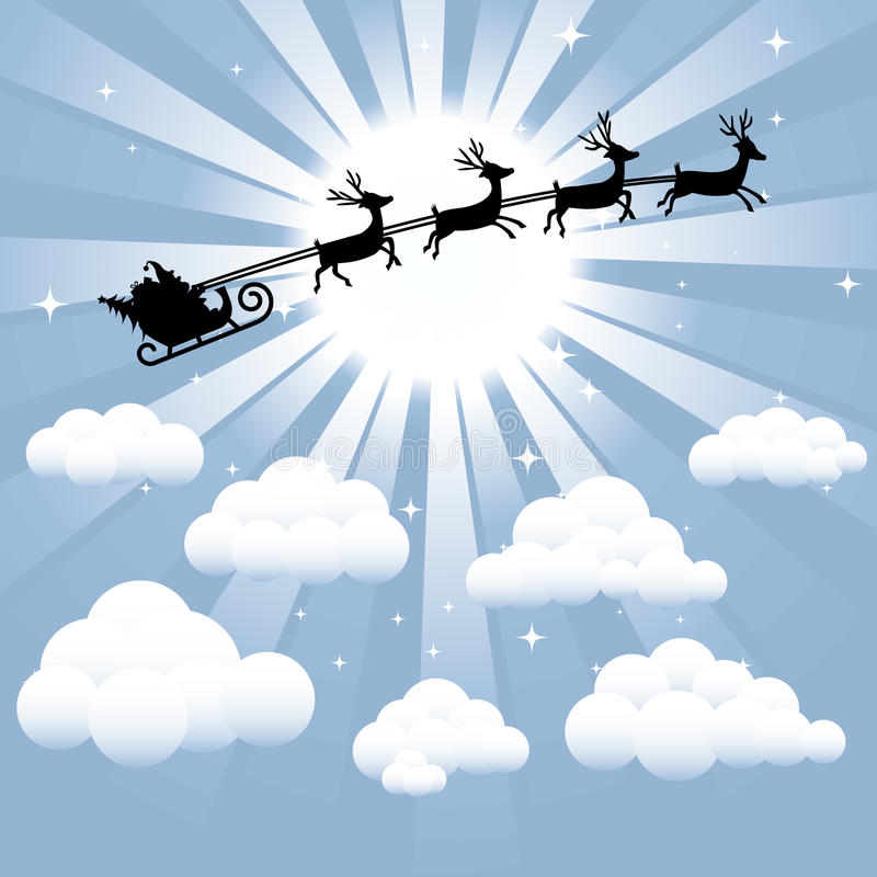 Santa and Reindeer Silhouette. Flying through the sky. Created in Adobe Illustrator with assets separated into separate layers stock illustration