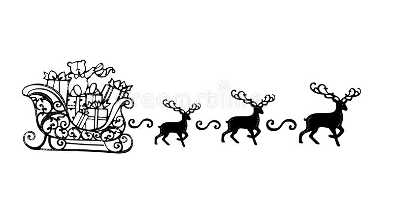 Santa Claus with Reindeer Sleigh Symbol Black Silhouette. Santa and reindeer silhouette, outline isolated on white background. Easy to customize. Outline Shape vector illustration