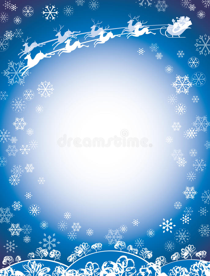 Santa and Reindeer Sleigh Blue. This Happy Holiday Santa Claus is enjoying the Christmas season flying through the air in his sleigh pulled by eight tiny vector illustration