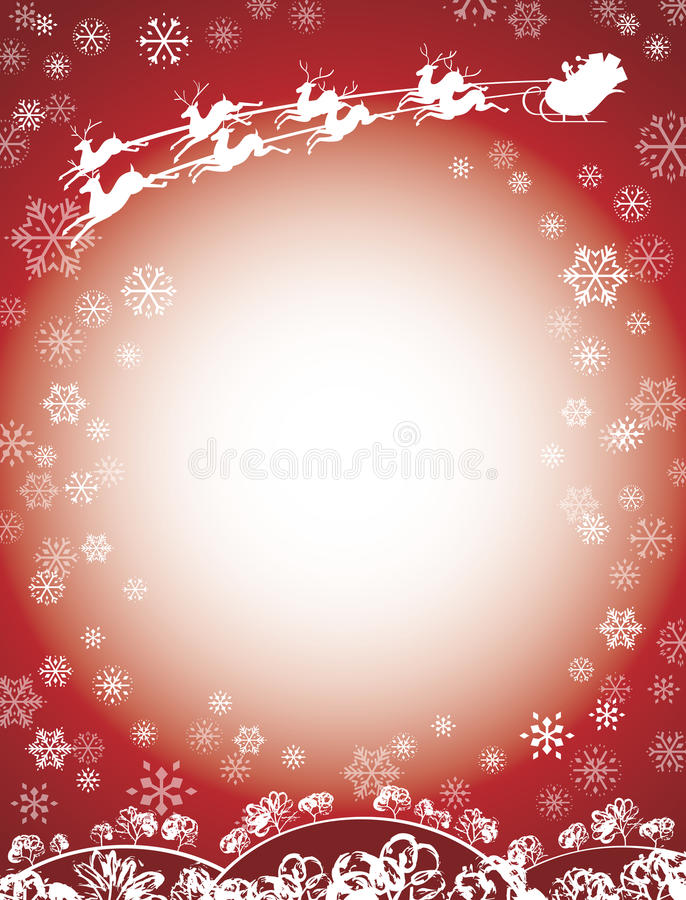 Santa and Reindeer Sleigh Red. This Happy Holiday Santa Claus is enjoying the Christmas season flying through the air in his sleigh pulled by eight tiny reindeer vector illustration