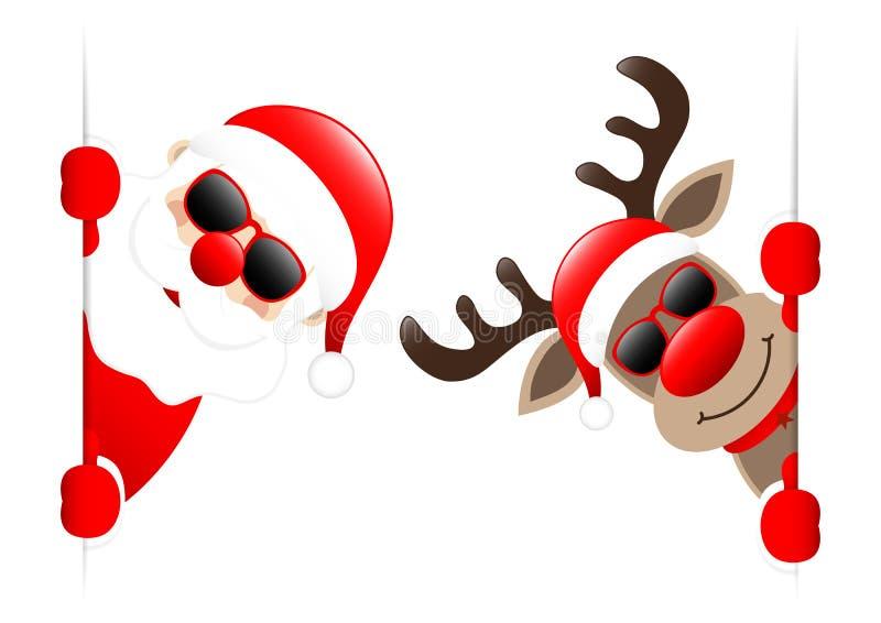 Santa And Reindeer With Sunglasses dentro de la bandera vertical libre illustration