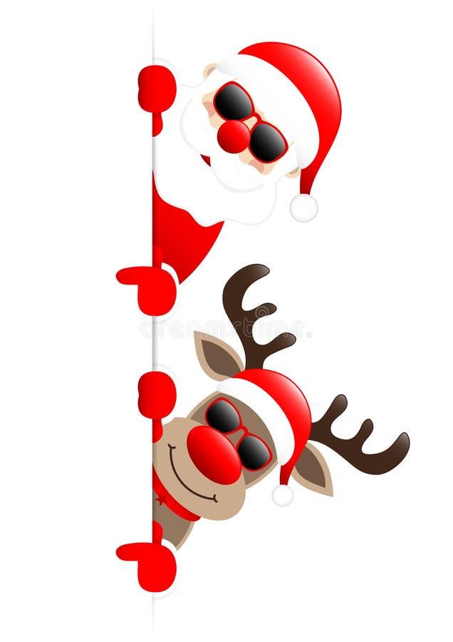 Santa And Reindeer Sunglasses Showing en bandera izquierda ilustración del vector