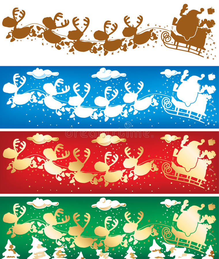 Santa and reindeers banners. Santa and reindeers 4 banners. Vector without gradients, great for printing royalty free illustration