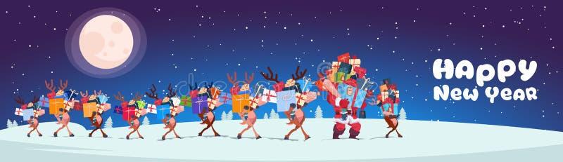 Santa With Reindeers Carry Stack von Geschenken draußen Nachtam horizontalen guten Rutsch ins Neue Jahr-Fahnen-Design lizenzfreie abbildung