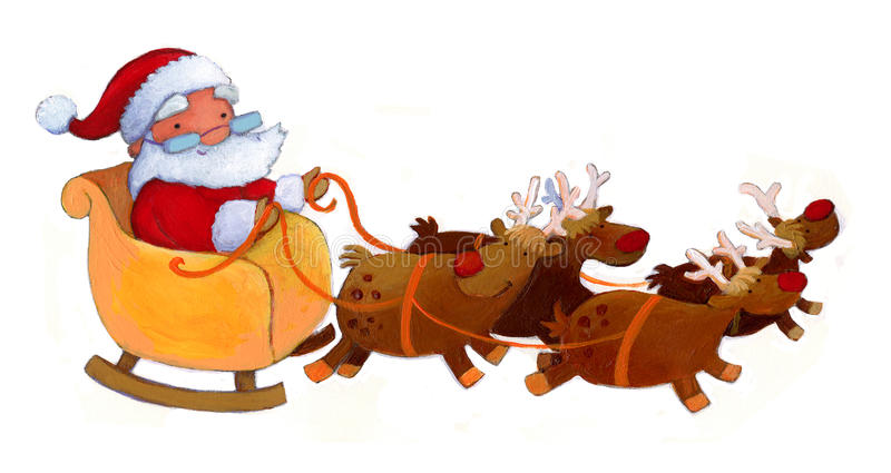Santa with reindeers stock photos