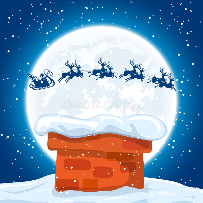 Santa and reindeers flies over the roof stock illustration