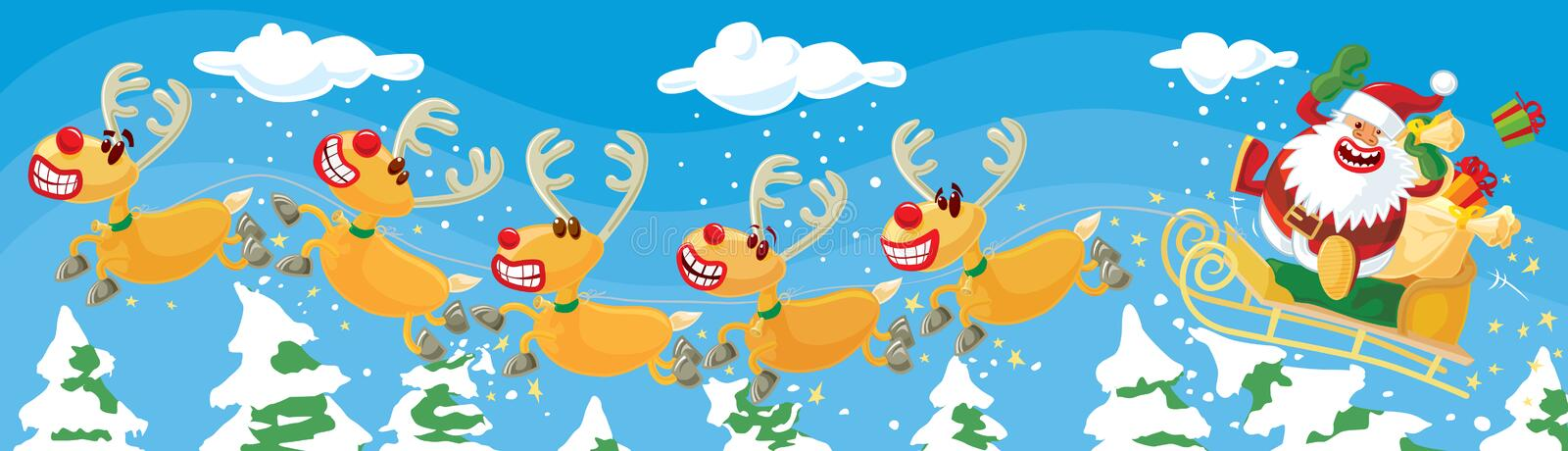 Santa and reindeers in a hurry. Funny Christmas illustration. Santa and Rudolph jumping over trees. Vector without gradients, great for printing stock illustration