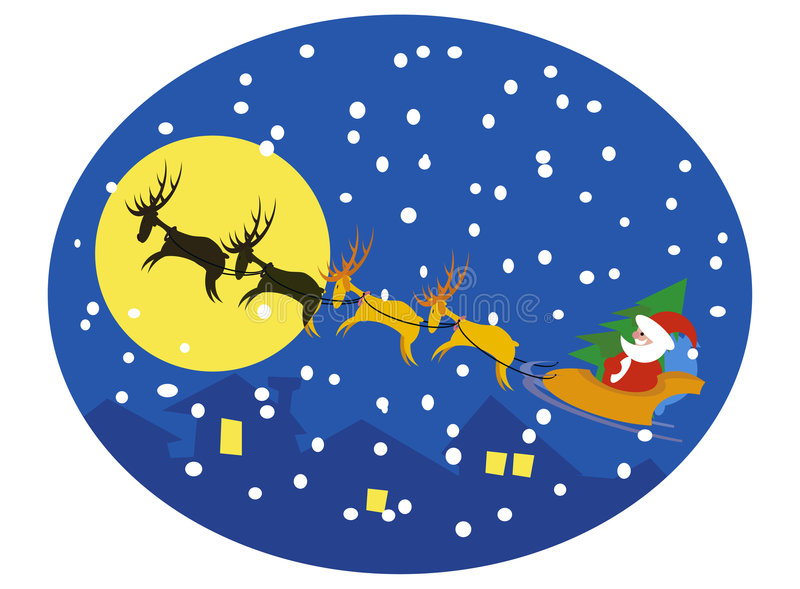 Download Santa And Reindeers On Moon Stock Vector - Image: 7251955