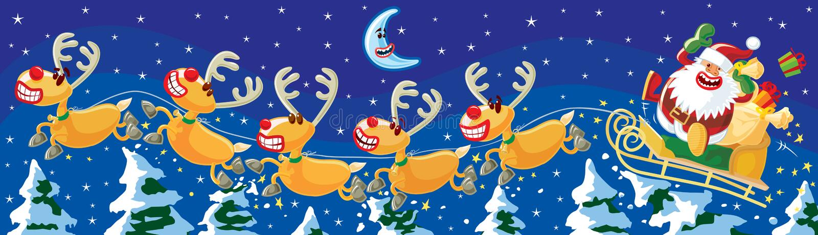 Santa and reindeers at night. Funny Christmas illustration. Santa and Rudolph jumping over trees, night scene. Vector without gradients, great for printing vector illustration