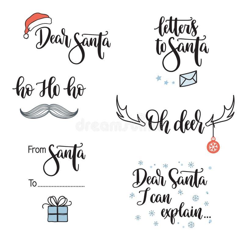 Santa related phrases lettering set stock illustration