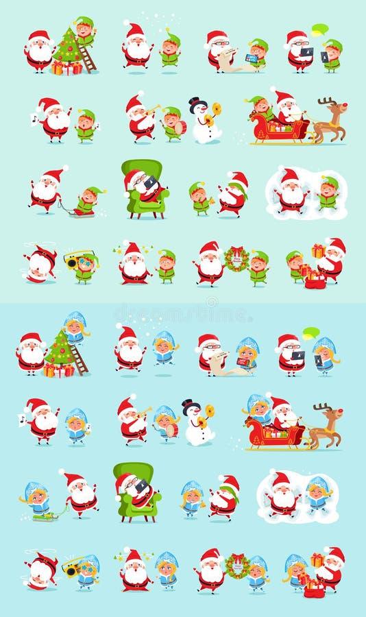 Santa, rena, neva donzela, princesa Elf Set do gelo ilustração stock
