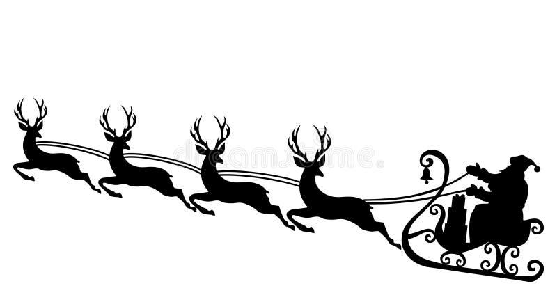Santa reniferowa sylwetka royalty ilustracja