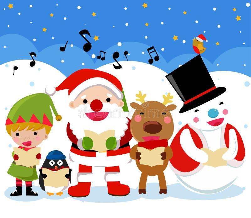 Santa, renne, homme de neige, elfe et pingouin, Noël illustration stock