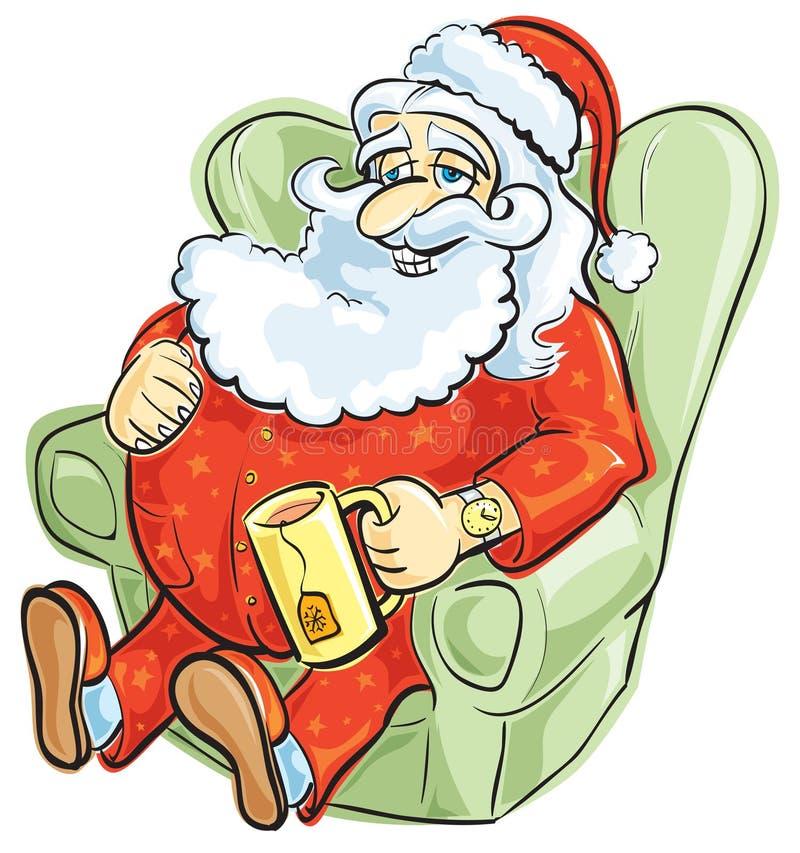 Santa Resting In Pajamas Stock Photos