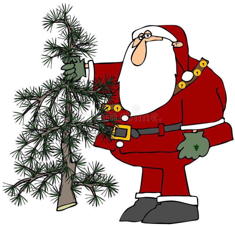Santa retenant un arbre Scraggly illustration stock