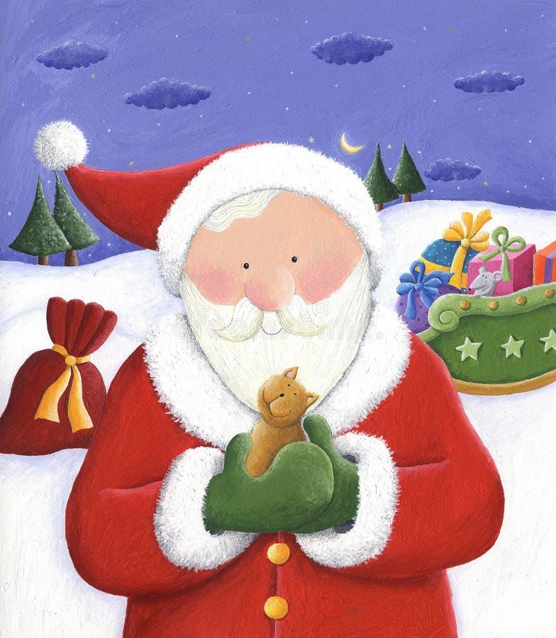 Santa retenant un petit chat illustration stock