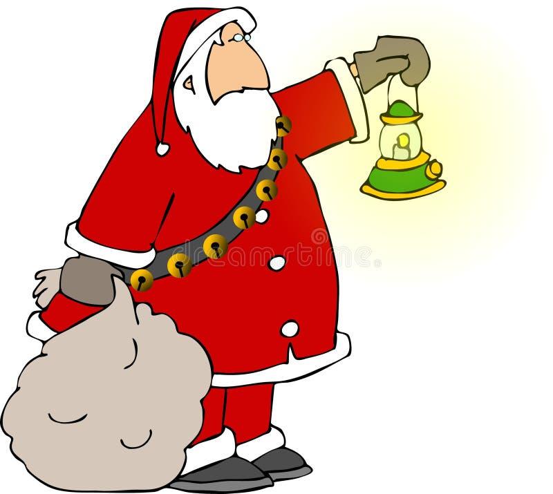 Santa retenant un sac et une lampe illustration de vecteur