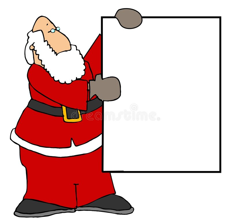 Santa retenant un signe blanc II illustration de vecteur