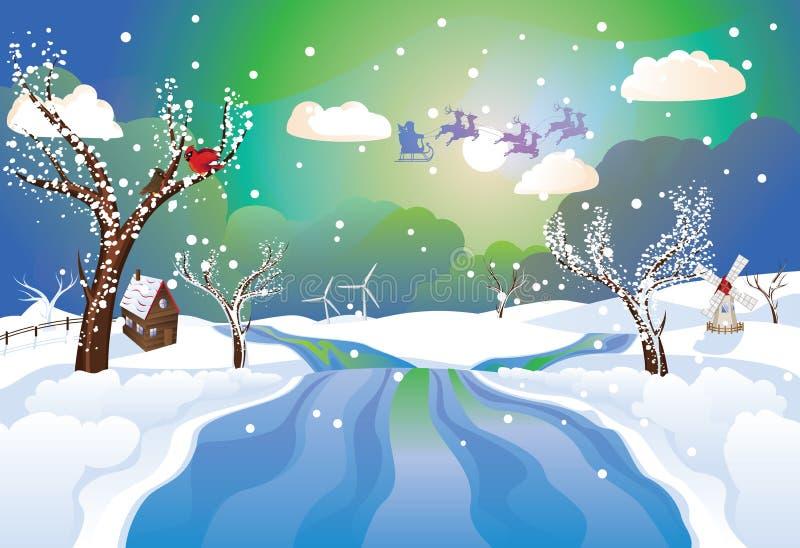 Santa Riding Christmas Sleigh en la noche ilustración del vector