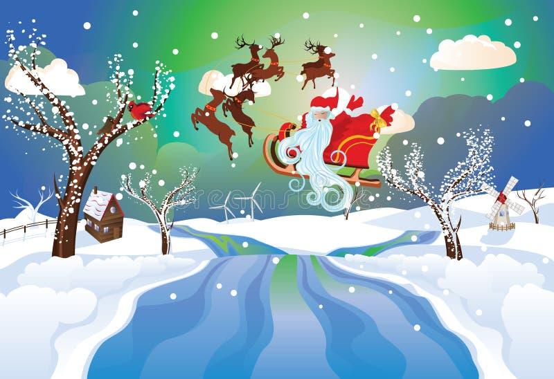 Santa Riding Christmas Sleigh en la noche libre illustration