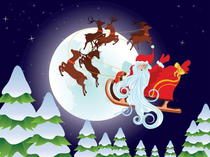 Santa Riding Christmas Sleigh en la noche stock de ilustración