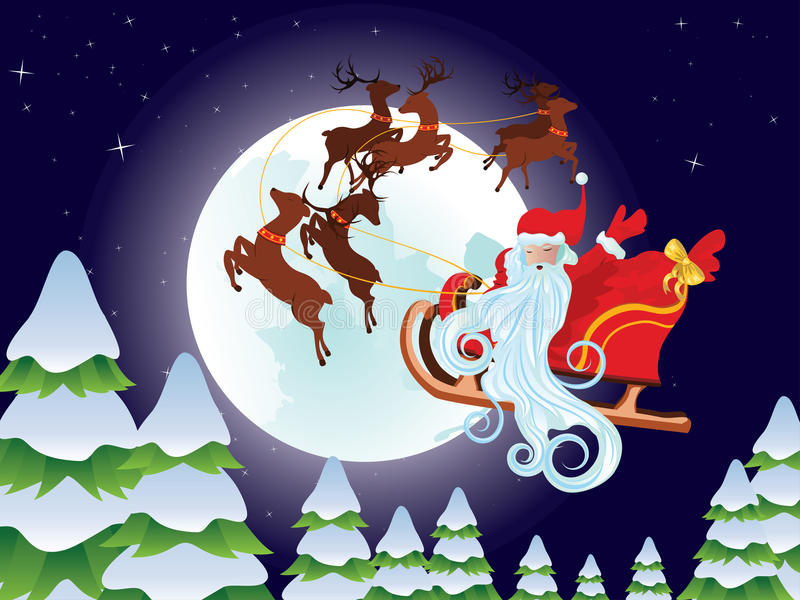 Santa Riding Christmas Sleigh at Night stock illustration