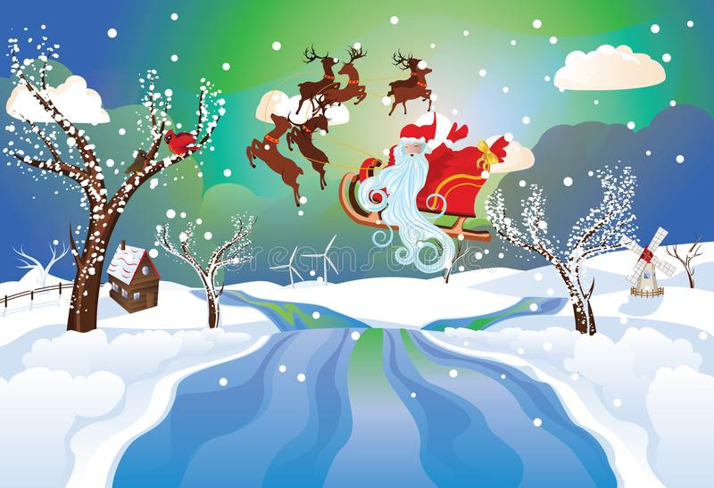 Santa Riding Christmas Sleigh at Night royalty free illustration